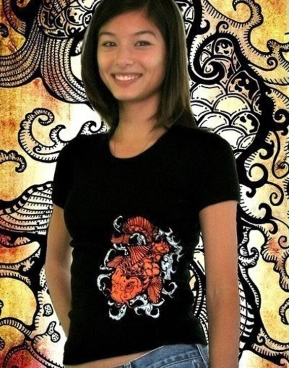 Womens Koi Wave Top Poison Apple Shirts DIY Tattoo Art Screen Printed Tshirt Japanese