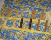 DPN Knitting Needle Roll, Blue Yellow Floral