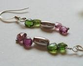 Dangle Earring, Shades of Tourmaline  and Sterling Silver, Statteam
