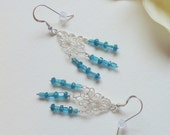 Two Shapes of Blue Apatite and Sterling Silver, Chandelier Earrings, Smokeylady54
