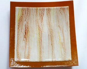 Dining and Entertaining, Fused Glass Dish in Earth Tones Large Size, Smokeylady54