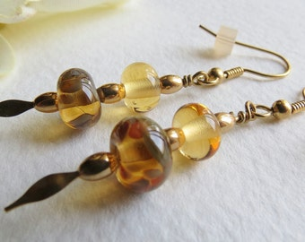 Jewelry, Dangle Earrings Beige Tones, Lampwork Beads,  Gold Filled Beads, Smokeylady54