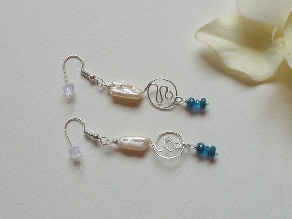 Dangle Earrings, Blue Apatite and Pearl Earrings, Sterling Silver, Smokeylady54