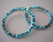 ON SALE Turquoise Silver Hoops