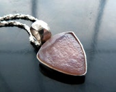 Druzy pink chalcedony natural undyed trillion in sterling silver pendant necklace mount airy nevada