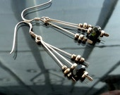 Tourmaline Dangle earrings in sterling silver antiqued 3 dangles green black destash jewelry closeout priced