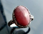 Medieval Rose Pink Rhodonite ring in sterling silver band size 7 8 victorian closeout sale jewelry