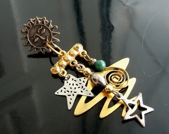 Celestial Skies Pin Sun Stars n Galaxy in gold n silver