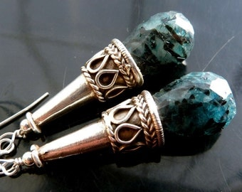 Teal Rutilated Quartz briolettes drop earrings with vintage jester hat cones in sterling silver black tourmaline