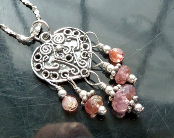 Victorian Pink Tourmaline Heart pendant necklace in sterling silver boho gypsy chandelier