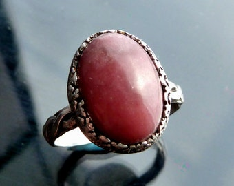 Medieval Rose Pink Rhodonite ring in sterling silver band size 7 8