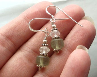 Dainty Faceted Quartz w mint green fluorite n flowers in sterling silver closeout sale