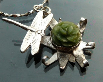 Dragonfly Star Flower Dance Spring flower with carved green jade in sterling silver necklace
