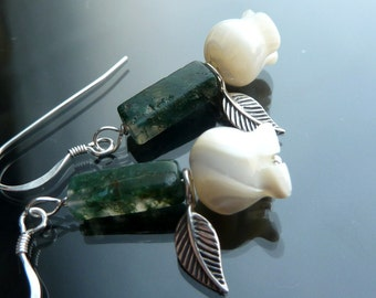 Dainty Rose Earrings carved mop roses in sterling silver flowers green moss agate stems