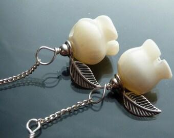 Dainty Rose Earrings carved mop roses in sterling silver flowers