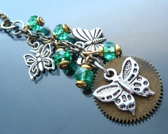 Victorian Butterfly Cascade necklace mint green crystals silver and gold waterfall butterflies steampunk watch parts