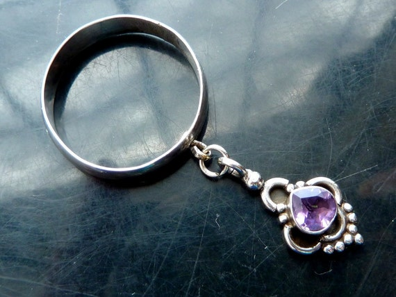 Amethyst tear drop ring in sterling silver victorian dangle faceted size 8