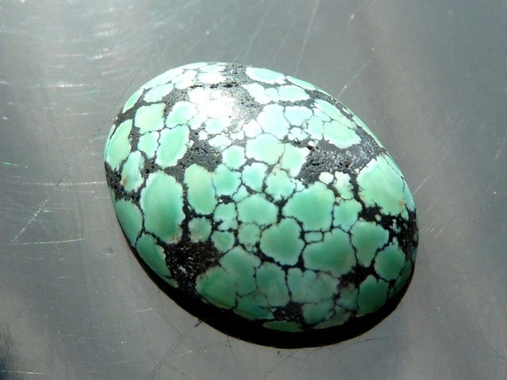 Turquoise Spider Web Vein Cab From Nevada Oval Cabochon