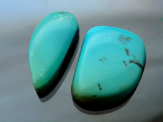 Blue Gem turquoise cabs pair blue to gold Nevada cabochon