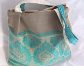 Turquoise, Taupe and Cream Bag