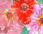 3 Zinnias Painting ACEO Original, Red, pink and purple flowers