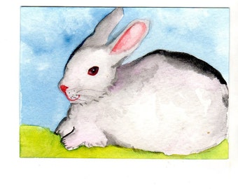 ACEO Bunny Rabbit Original Painting, Art Card, watercolor rabbit, bunny painting, Bunny decor, small Kitchen  or nursery Wall Art