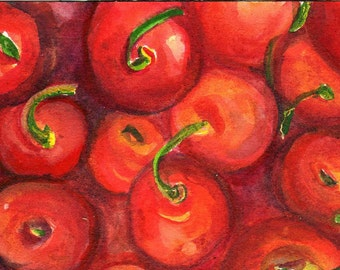 Cherries Watercolor Painting Original, Small Fruit Painting, Food Wall Art, 4 x 6 kitchen decor, original watercolor painting of cherries