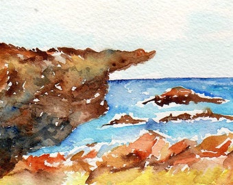 watercolor painting - Aruba original watercolor, seascape watercolor Original 4 by 6 Aruba, original ocean art, watercolor seascapes art