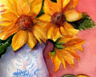 Sunflower Painting, sunflower watercolor art watercolors painting original blue & white vase, sunflower wall art, decor, floral artwork