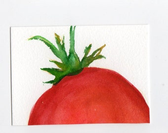 ACEO  Tomato Watercolor Painting Original Art Card, small tomato