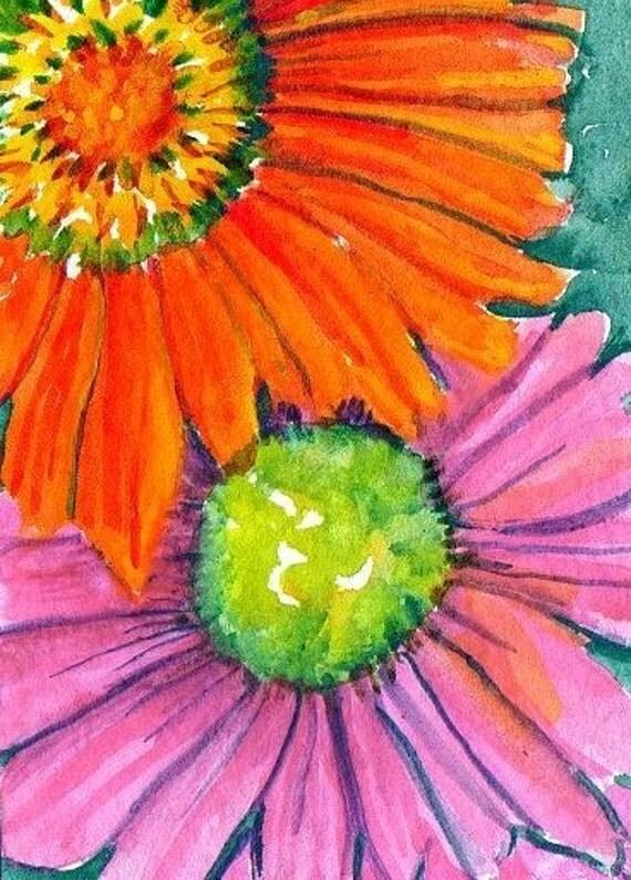 ACEO  Hot Pink and Orange Gerber Daisies Painting,  Original