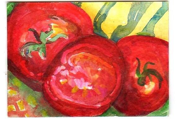 ACEO Original Tomatoes Painting Art Card Watercolor