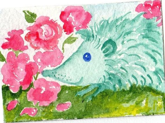 ACEO Original Aqua  Blue Green Hedgehog Painting   and roses - original