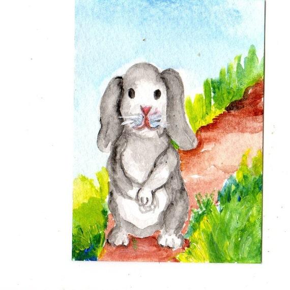 ACEO Grey Lop earred Bunny Original painting, ACEO Art, watercolors paintings original, Rabbit Art, miniature painting