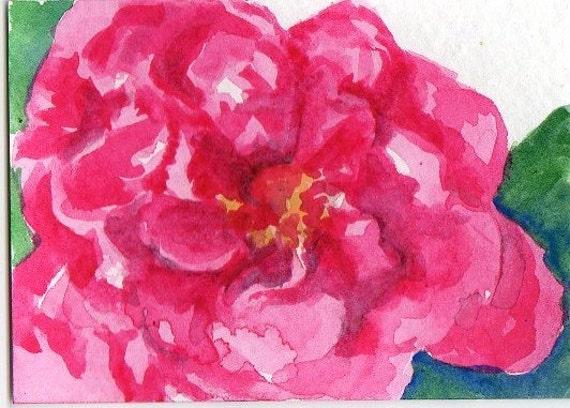 ACEO Pink Camellia Original Painting  Art Card