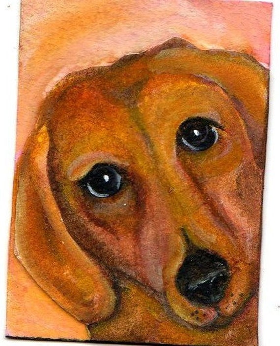 ACEO Dachshund Original Painting Collage