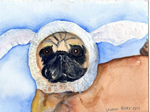 Original  Pug watercolor painting 100 percent to  Charity -www.pugrescueofnewengland.org