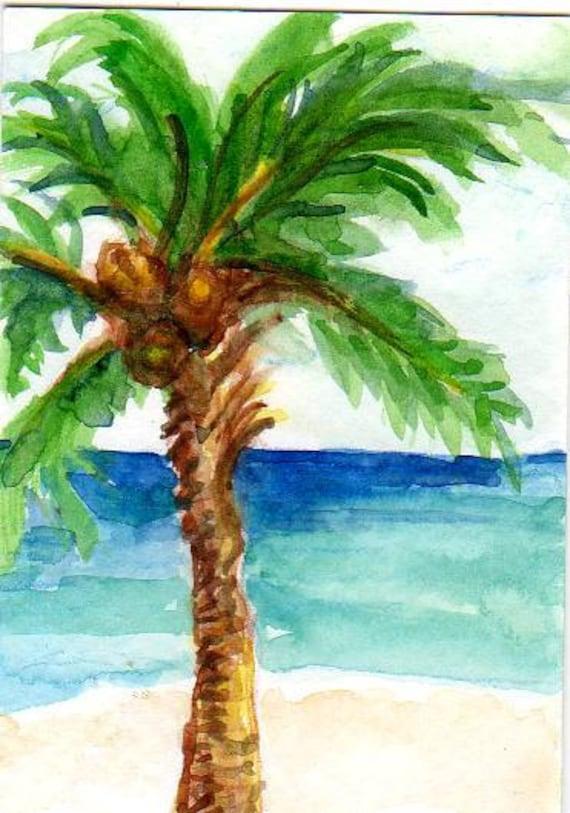 palm tree watercolor - photo #17