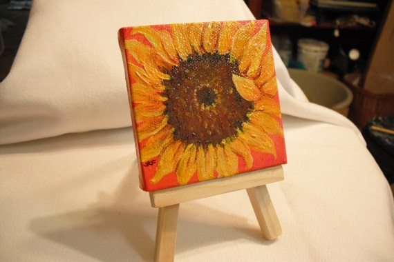 Original Sunflower painting on mini canvas with Easel,  great gift
