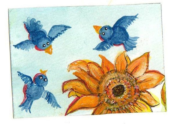Chubby Bluebirds Painting Sunflower Original ACEO