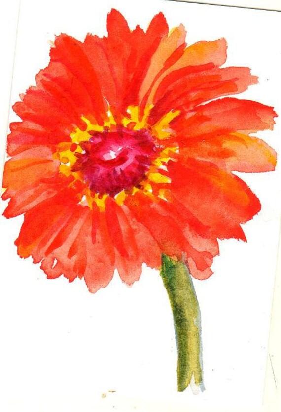 Red Orange Zinnia ACEO Original Painting watercolor