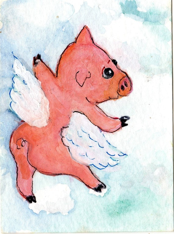ACEO  Original Flying Pig Painting