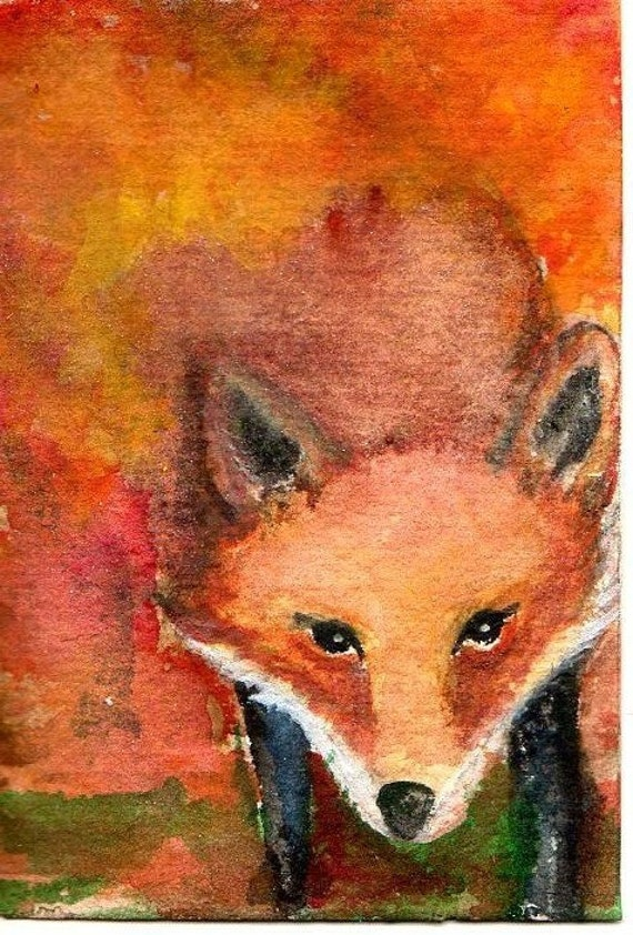 ACEO Original Red Fox in the Forest
