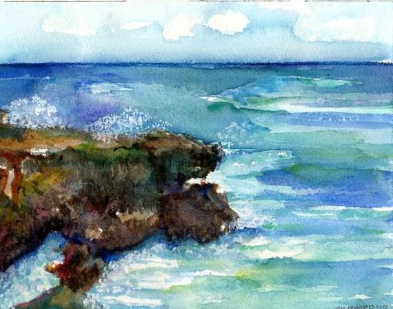 ORIGINAL  Watercolor Painting of Aruba Wild side  Seascape