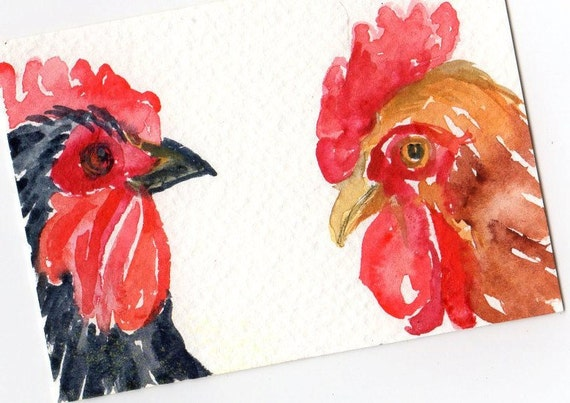 ACEO  Chicken Chat Original Roosters watercolor painting - Chicken Art