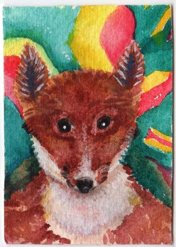 ACEO Original Red Fox Painting, Colorful background