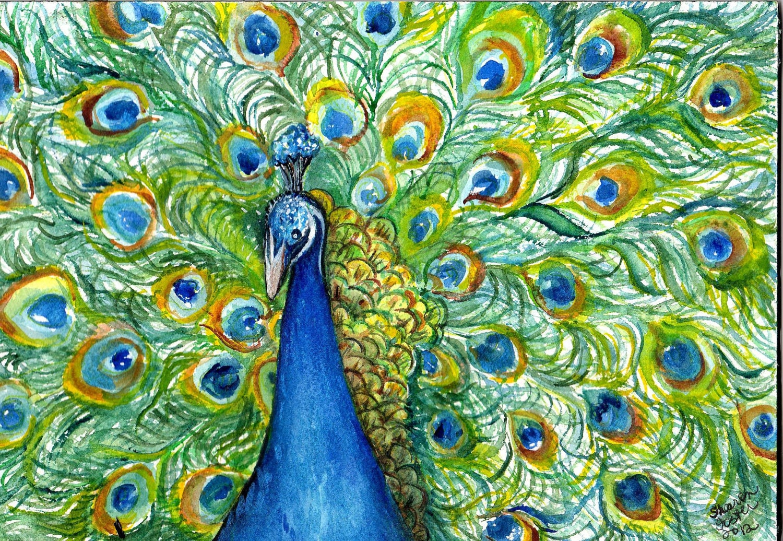 Peacock painting watercolor Original