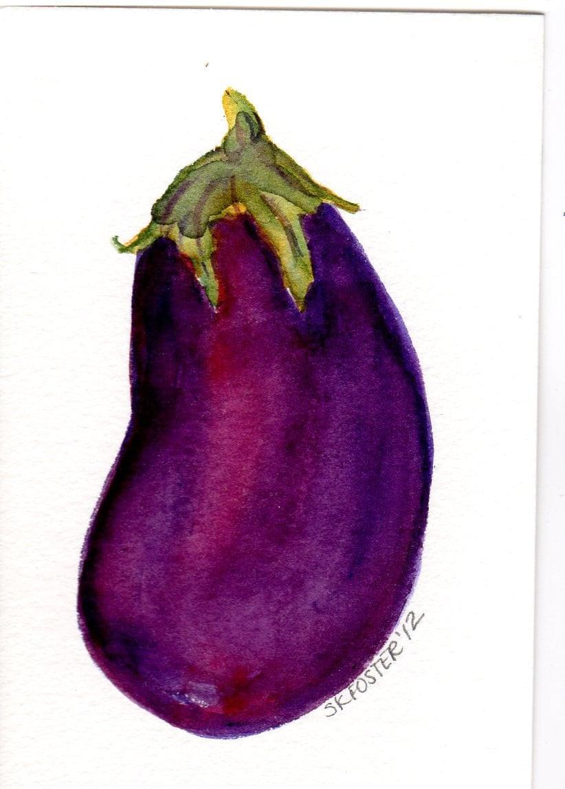 Purple Eggplant Watercolor Painting 4 X 6 Original Art