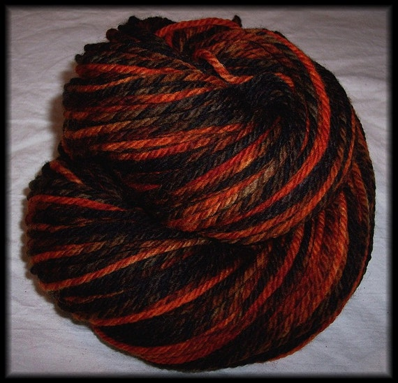 Admiral of the Fire - Hand Painted Aran Twist -  3.5 oz - 100 g - 170 yds - 155 m