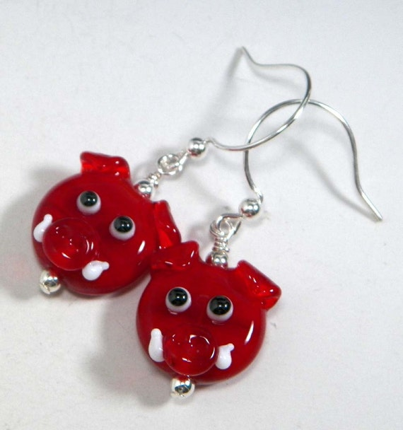 Handmade Lampwork Arkansas Razorback Hog Sterling Silver Earrings by Starlight Designs